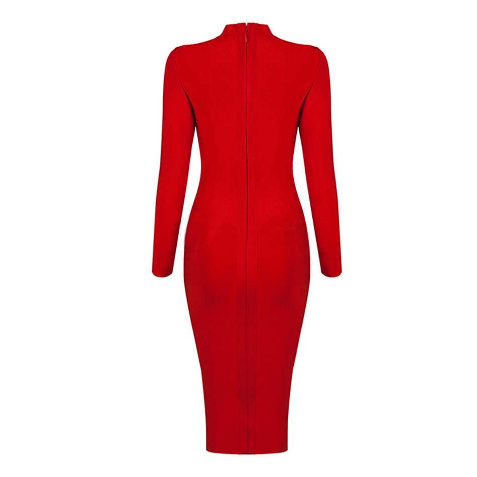 2019 diz uzun kış bandaj elbise kırmızı kayısı uzun kollu yüksek yaka fermuar bölünmüş Bodycon seksi kulübü parti noel elbise