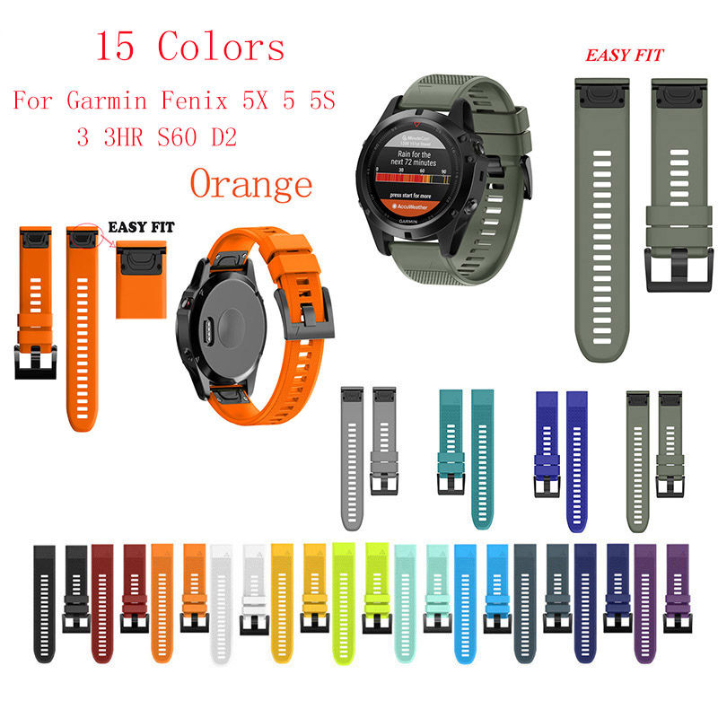 Fistar 26 22 20 mm Quick Release Easy Fit Silicone Watch Wrist band Strap for Garmin Fenix 5X 5 5s 3 3HR S60 D2 Mk1 Smart watch