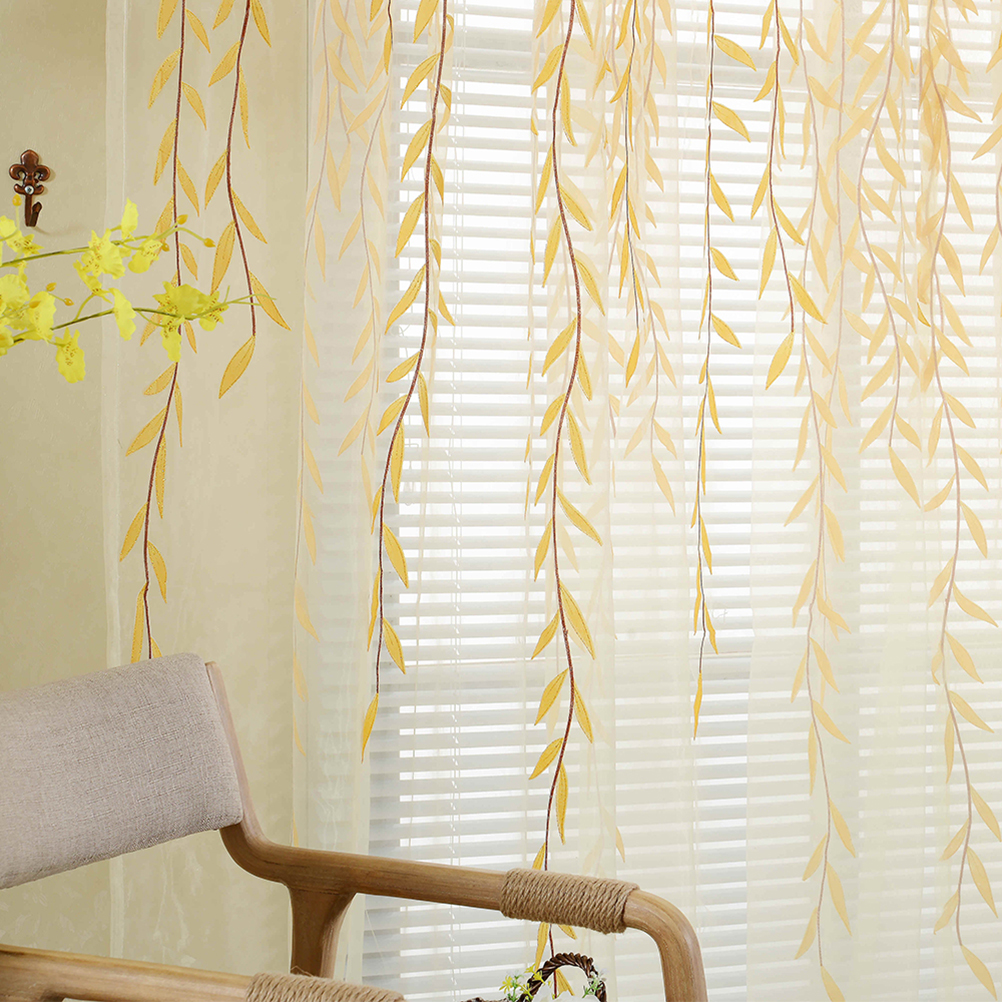 2019 Shade Window Drape Valances Curtain Transparent Tulle Window Sheer  Screen For Balcony Bedroom 100X200CM Yellow From Huayama, $25.31 |  DHgate.Com