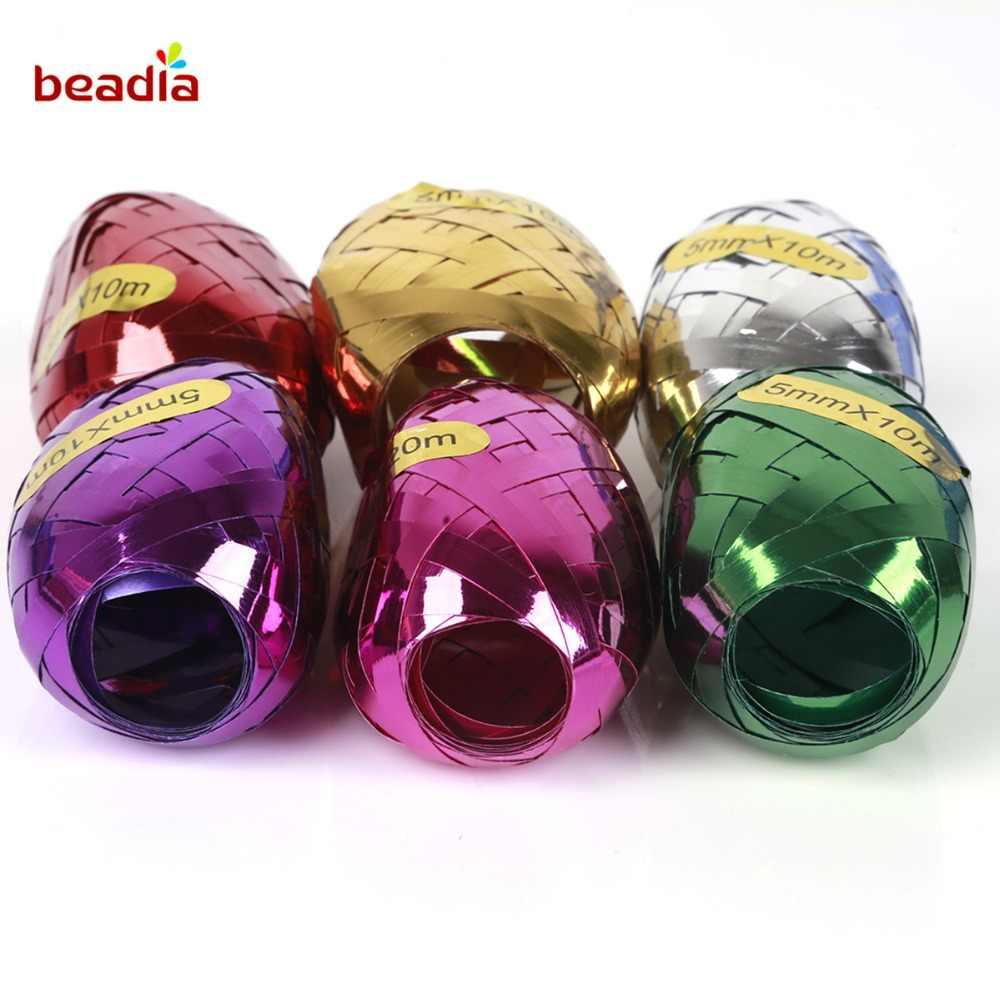 6 pçs/saco 10 m Fitas Fita Do Laser Hélio Balões De Látex para a Festa de Aniversário Decoração de Casamento DIY Acessórios