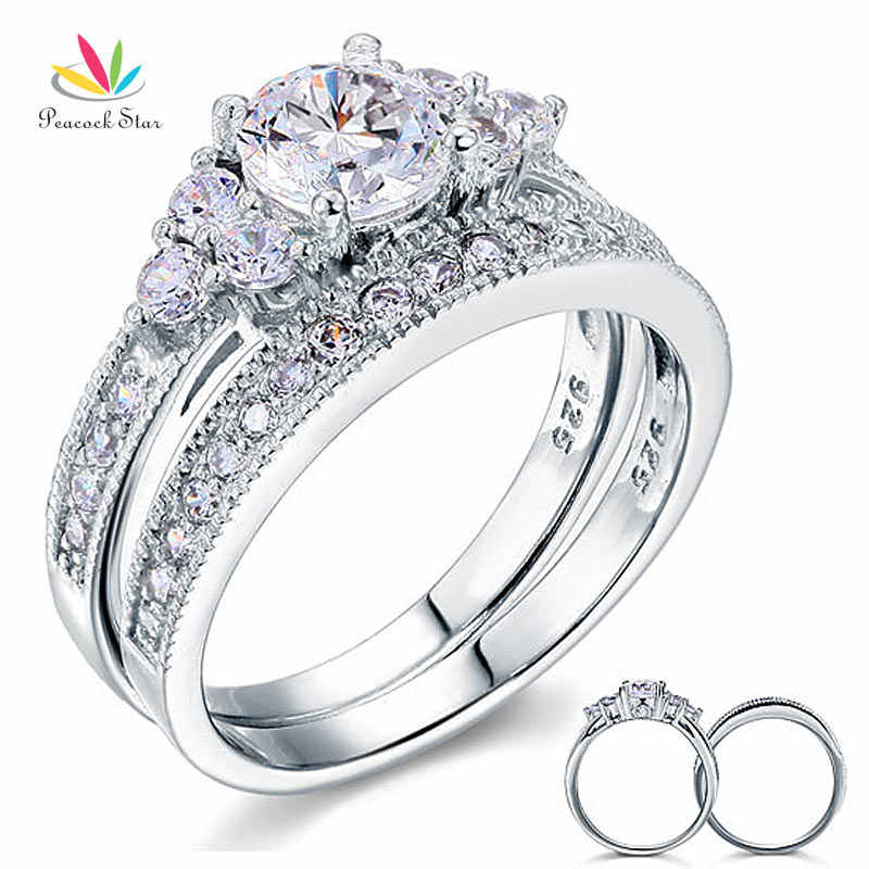 Peacock Bintang Gaya Vintage 1 Ct Sterling 925 Silver 2-Pc Wedding Anniversary Engagement Ring Set Perhiasan CFR8102