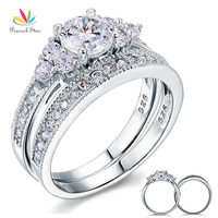 Vintage Style 1 Ct CZ Simulated Diamond Solid Sterling 925 Silver 2 Pc Wedding Engagement Ring