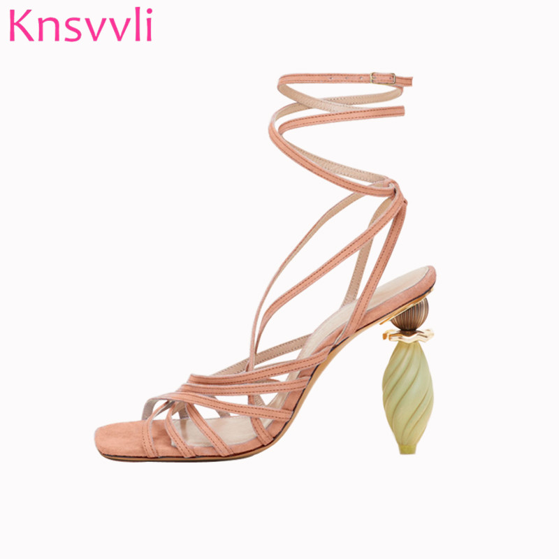 Runway Shoes Heeled Ankle-Strap Sandals Women Strange-Style Asymmetric Sexy Peep-Toe