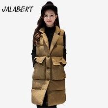 2017 Autumn winter women new Slim big size long cotton vests female Waistcoat Big pocket Single-breasted lapel jacket