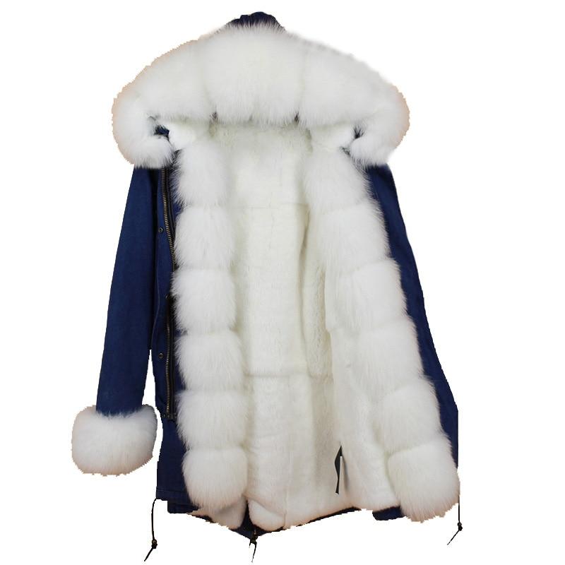 2018 new luxury thick winter warm women demin fur parka natural fox fur hoody genuine rabbit fur inside liner female slim coats in Real Fur from Women 39 s Clothing