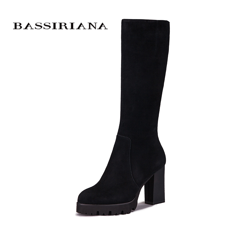 BASSIRIANA Shoes Women Boots Knee-High High-Heeled Fashion Knight Boots High Quality Sexy Women's Boots Shoes цены онлайн