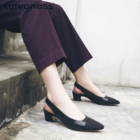 Curvaness Women Sandals Summer New Stitching Fashion High Heels Shoes Back Casual Pointed Toe Genuine Leather Pumps Lady Summer
