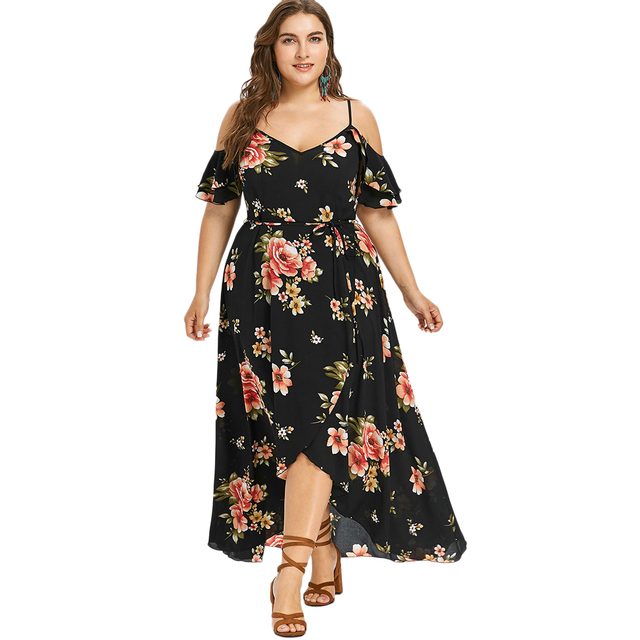 c300717b76 US $15.83 52% OFF|Wipalo Women Summer Plus Size 5XL Cold Shoulder Floral  Overlap Dress Spaghetti Strap Half Sleeves Floral Print Beach Dress Robe-in  ...