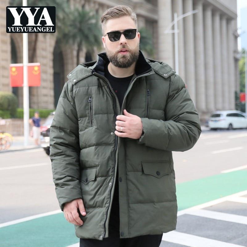Haute qualité à capuche mode hommes hiver bas vestes 2019 nouveau noir vert Zipper vers le bas manteaux mâle grande taille 10XL hommes vêtements chauds