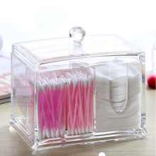 Clear Acrylic Multi-function Cotton Swab Discharge Makeup Cotton Storage Holder Cosmetic Makeup Boxes