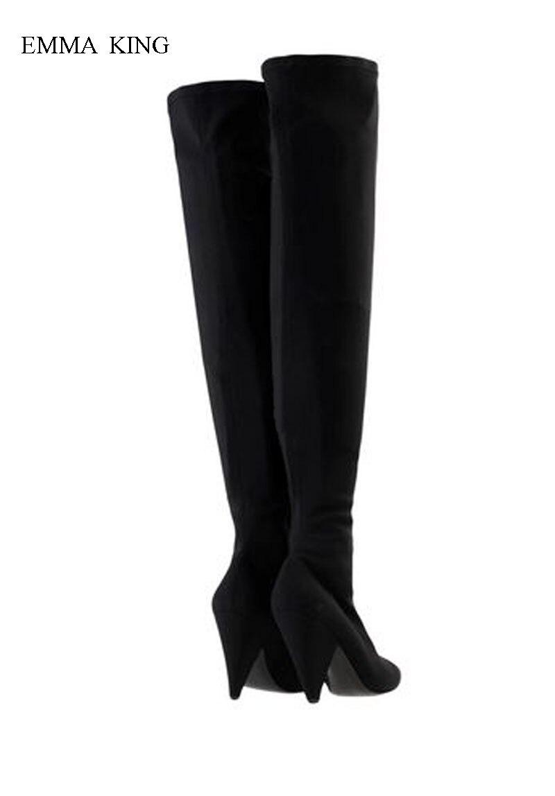 Bottes Sur Automne Spike Longues Le Femme Chaussures Hiver Pointu Daim Zipper Genou De Zapatos Mujer Hauts Black Dames Bout Talons xnBqwxr1