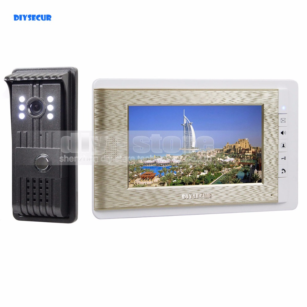 DIYSECUR Aluminum Alloy Camera High Quality 7 inch TFT Color LCD Display Video Door Phone Visual Intercom Doorbell Hands