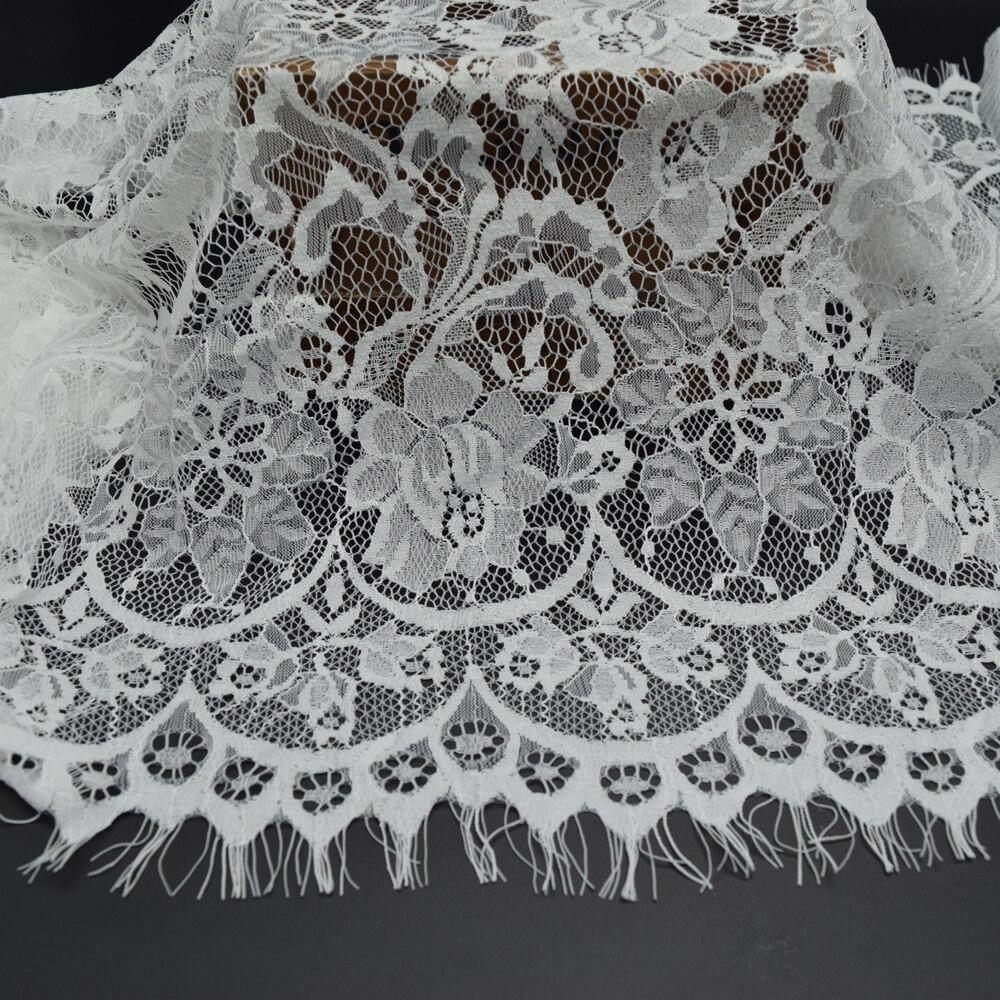 3yards white and black romantic net eyelash soft lace for Wedding dress lace fabric