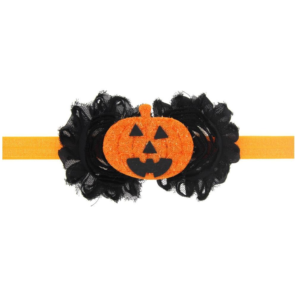 1pcs chiffon smiling face halloween punk hair pumpkin headbands for