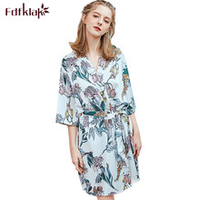 Fdfklak Sexy trajes de dama de honor nueva ropa de dormir de seda bata de novia vintage estampado bata de baño de mujer peignoir femme 2019