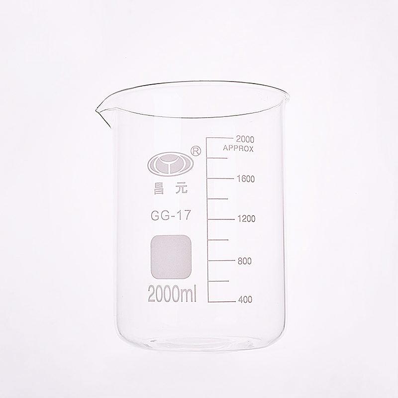 Beaker in low form,Capacity 2000ml,Outer diameter=130mm,Height=185mm,Laboratory beakerBeaker in low form,Capacity 2000ml,Outer diameter=130mm,Height=185mm,Laboratory beaker
