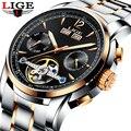 Мужские часы Роскошные Лидирующий бренд LIGE tourbillon механические Спортивные часы для мужчин s модные деловые мужские автоматические часы Relogio ...