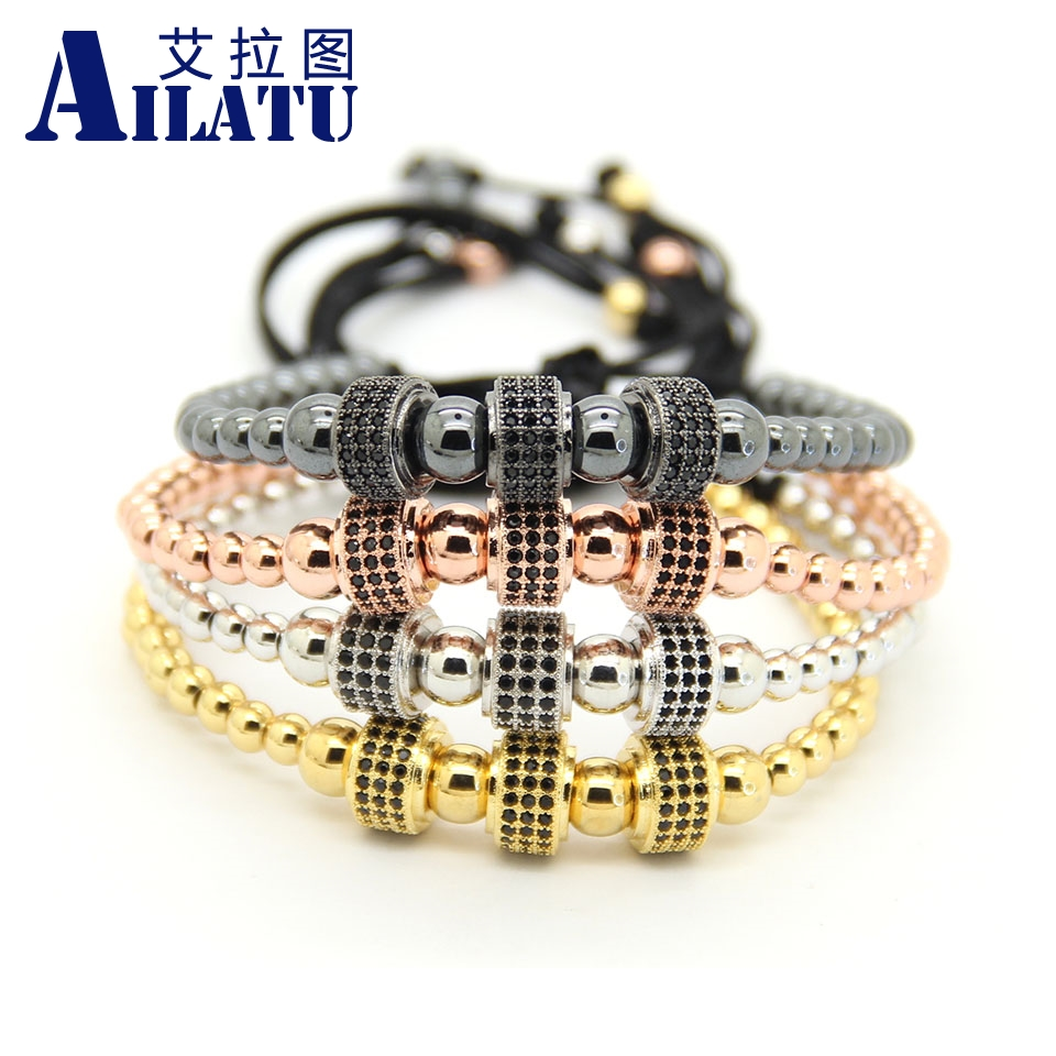Ailatu Fashion Copper Beads Weave Three Micro Pave CZ Charm Cylinders Balls Braiding Macrame Bracelet Jewelry-in Strand Bracelets from Jewelry & Accessories    1