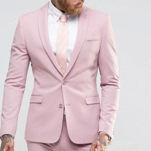 Pink Wedding Tux: New Arrival Light Pink Men Suit Slim Party Dress Groomsmen