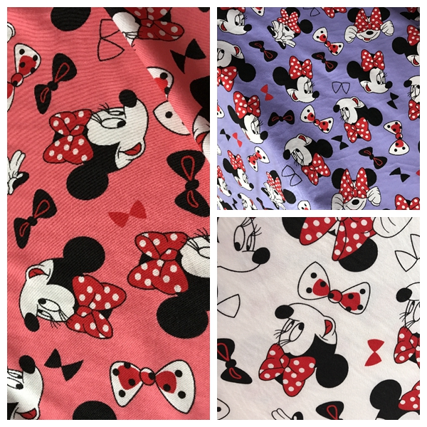 50*190cm Cartoon Minnie mouse with Flowers Sewing Silk cotton fabric patchwork fabric Bundle tilda fabric for sewing Diy cloth