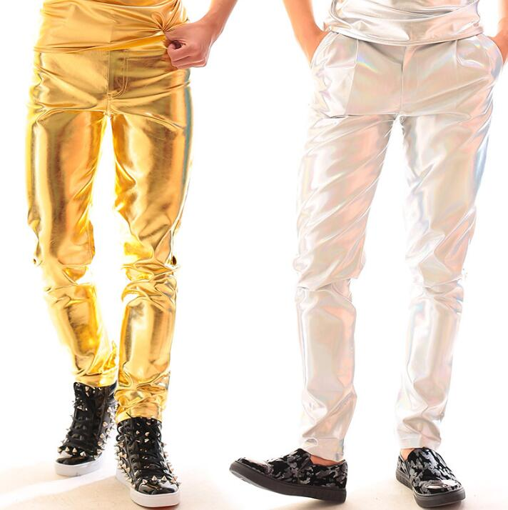 Gold Silver Motorcycle Faux Leather Pants Men Slim Trousers Pu Pants For Men Pantalon Homme Punk Fashion Singer Dance Stage Rock
