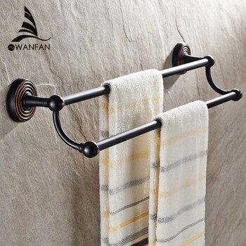 Towel Bars Antique Brass Towel Bar Modern Bathroom Wall Holders Black Bathroom Accessories Home Decoration Towel Racks HJ-1211F