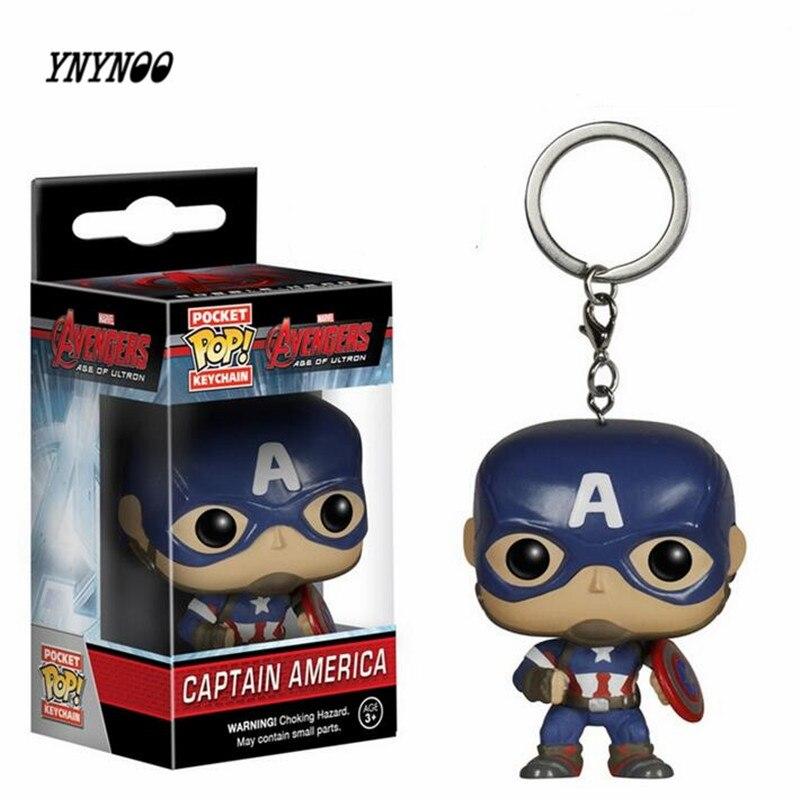 YNYNOO Marvel <font><b>Avengers</b></font> <font><b>2</b></font> Captain America <font><b>POP</b></font> Pocket KeyRing Hanger Iron Man Hulk <font><b>Thor</b></font> PVC Action Toy <font><b>Figure</b></font> Collection Keychain