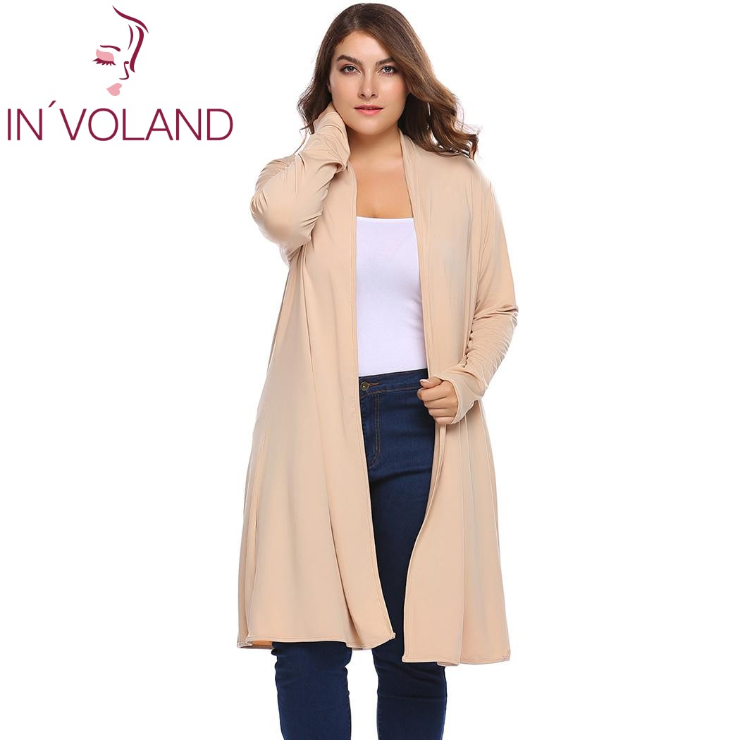 IN'VOLAND Plus Size Women Kint Cardigan Jacket Coat L-4XL Spring Autumn Long Sleeve Solid Open Front Knit Sweater Tops Big Size plus size pockets chunky knit long ope front slit cardigan