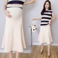 Летняя юбка корейская модная одежда для беременных юбки живота однотонный, стрейч линия юбки низ для беременных женщин C812