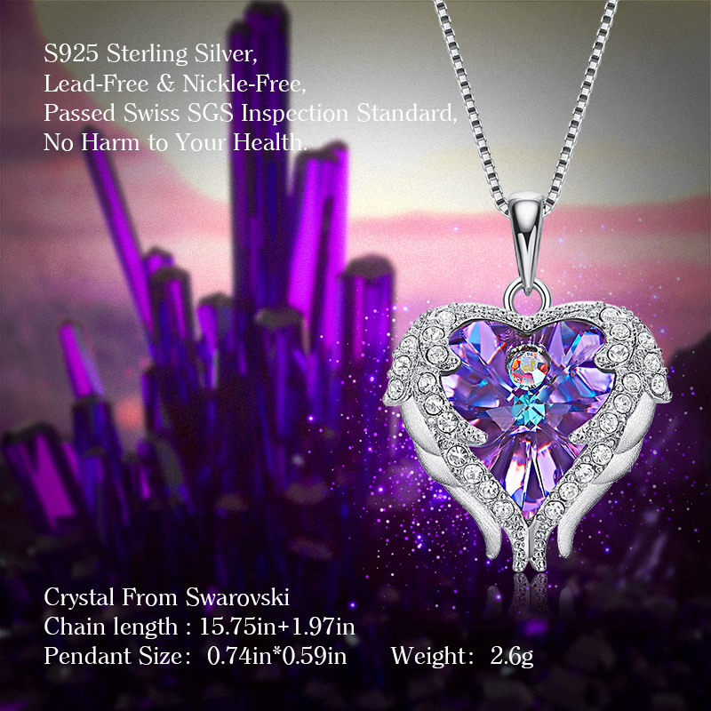 28142f505 Cdyle Real 925 Sterling Silver Angel Necklace Embellished with crystals  Pendant For Women Heart Wings Pendant-in Pendant Necklaces from Jewelry ...