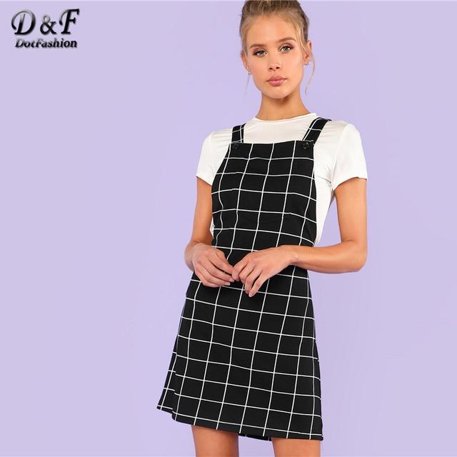 70c69ef970528 US $9.98 40% OFF Aliexpress.com : Buy Dotfashion Bib Pocket Front Grid  Pinafore Dress 2019 Summer Sleeveless Preppy Dress Women Black Straps Short  ...