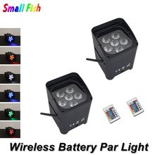 цена на Wireless DMX Battery Power RGBWY UV 6IN1 LED Par Can Light With Wifi & Remote For Wedding Uplight Dj Laser Lights Led Par Light