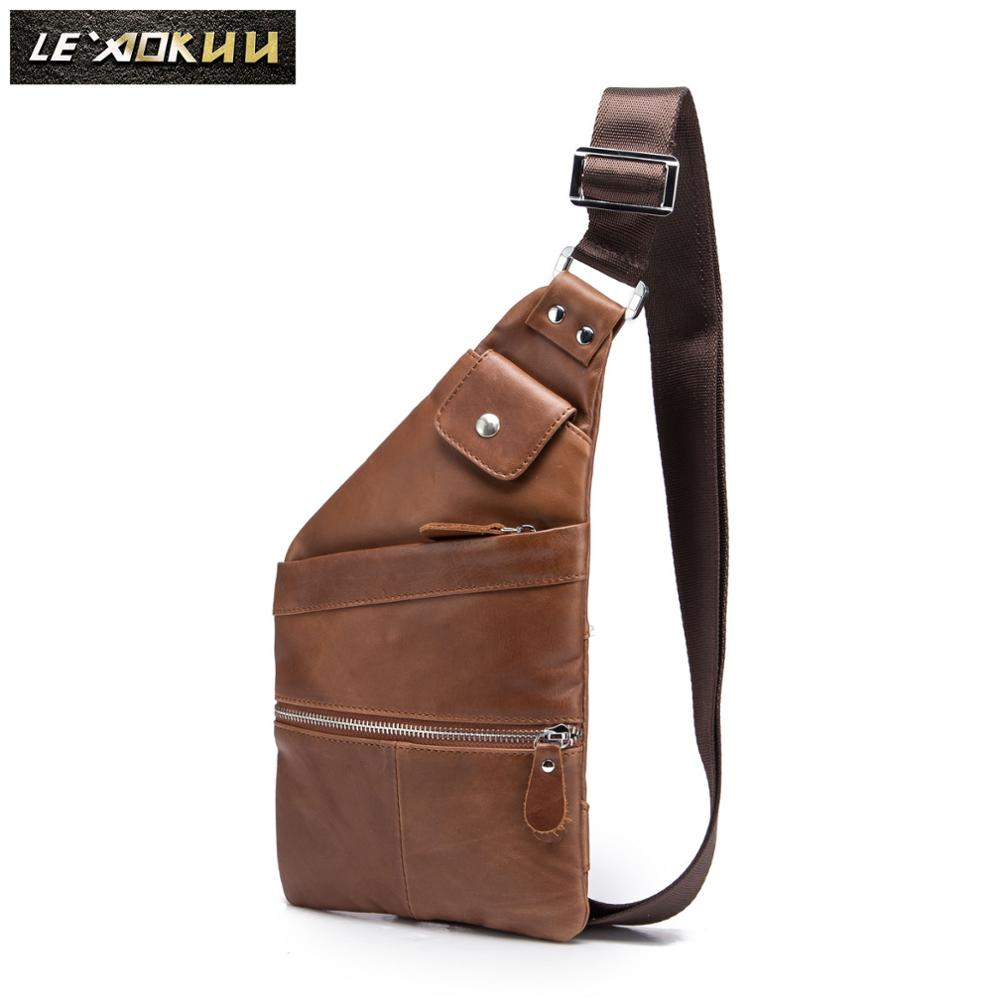 Men Quality Leather Casual Fashion Crossbody Chest Sling Bag Design Travel 8