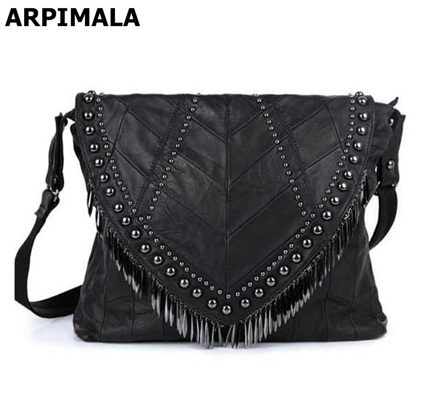e99f88e1f647 Detail Feedback Questions about ARPIMALA Genuine Leather Sheepskin Women  Leather Handbags Luxury Designer Women Messenger Bag Punk Stud Big Bag  Natural Boho ...