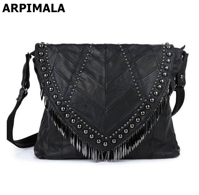 b5adeae432b ARPIMALA Genuine Leather Sheepskin Women Leather Handbags Luxury Designer  Women Messenger Bag Punk Stud Big Bag Natural Boho Bag