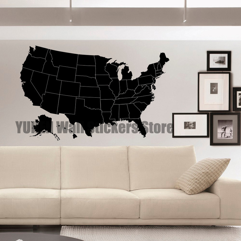 US Map Wall Decals Geographic Vinyl Stickers United States Map Wall ...