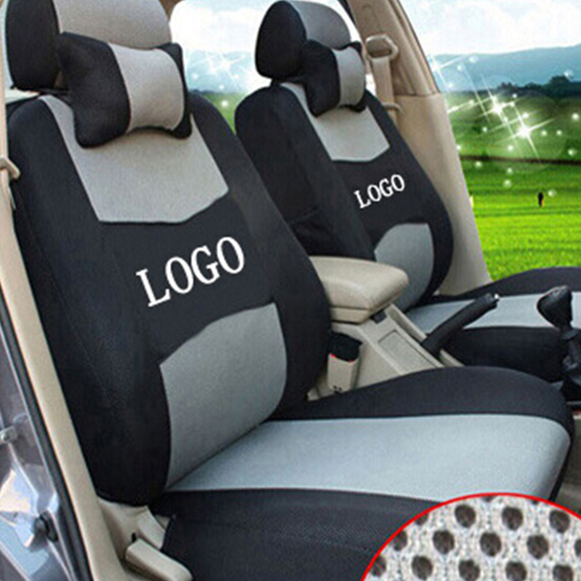 Free shipping Embroidery car logo Car Seat Cover Front&Rear complete ...