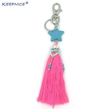 Bohemia Car Key Chains Lanyards Key Ring Key Finders Pink Tassel five stars Pendants Bag Rings KeyChains for woman summer