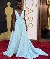 El envío Libre Una Línea de Cuello En V Profundo V Volver Lupita Nyong'o luz Azul Vestido de La Celebridad Oscars 2014 Red Carpet Vestidos Para Prom CS053