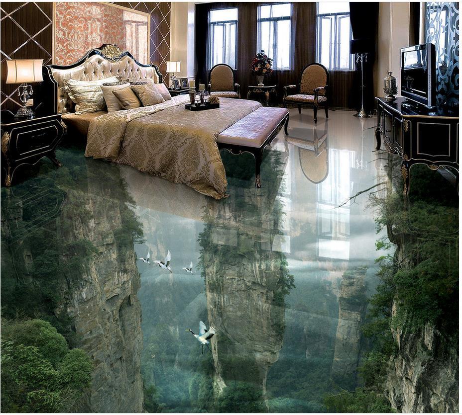 Mountain Waterproof floor mural painting Custom Photo self-adhesive 3D floor Home Decoration 3d floor tiles