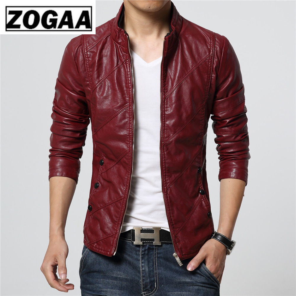 2019 Men Faux Leather Spring And Autumn Boy Jacket Slim Fit Wine Red Khaki Black Plus Size M 6xl Motorcyle High Quality Coats