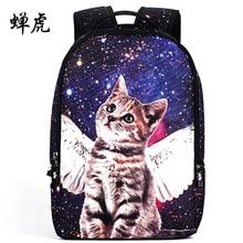 2016 Новые Горячие продажи ангел кошки тиснения женщины рюкзак девушки студенты мешок школы рюкзаки рюкзаки пакет бесплатная доставка