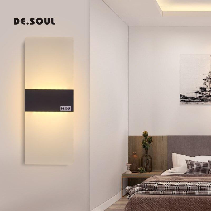 DE. SOUL Wall lámparas Led acrílico lámpara de pared AC 85-265 V montado en la pared Sconce luces moderno dormitorio blanco cálido apliques pasillo