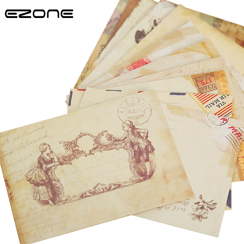 EZONE Vintage Envelope Small Mini Paper Window Envelopes Creative Wedding Invitation Message Card Ancien Nostalgic Postcard