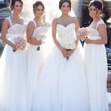 Simple White Empire Long Bridesmaid Dresses Lace Sweetheart Spaghetti Strap Floor Length Chiffon Wedding Party Dress