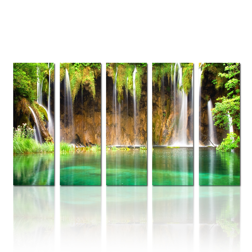 Nature Waterfall Photography Canvas Wall Art Landscape Canvas Set Of 5 Panel Living Room Ofiice