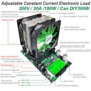 Image 2 - 180W דיגיטלי סוללה בודק קיבולת כוח אספקת מחוון dc 12V אלקטרוני עומס 18650 פורק הנגד usb לבדוק מבחן