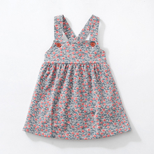 New Autumn Girl Dresses Stretch Corduroy Wide Floral Dresses  with Shoulder straps Cute fall kids Vest Dress 2 7 Y