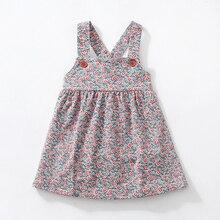 Yeni Sonbahar Kız Elbiseler Streç Kadife Geniş çiçekli elbiseler Omuz askıları ile Sevimli güz çocuk Yelek Elbise 2 7 Y