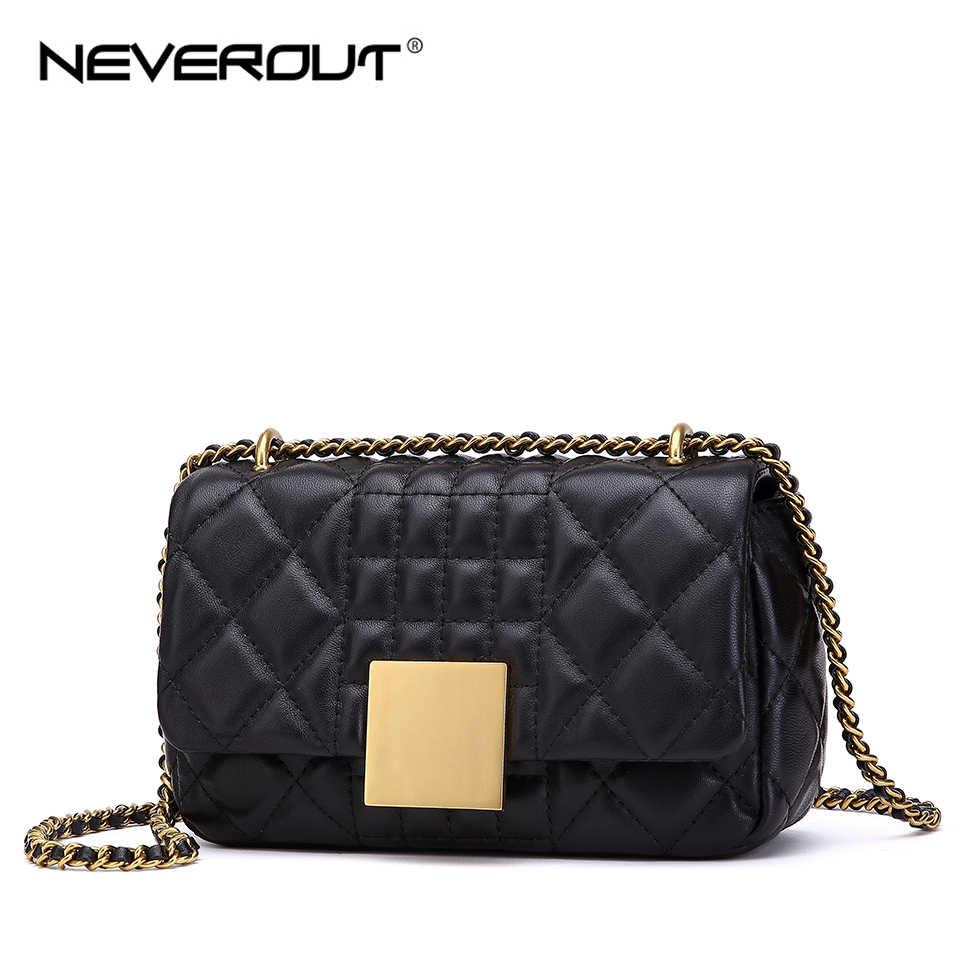 NEVEROUT Women Messenger Bags Soft Real Leather Luxury Chain Bag Solid  Fashion Mini Sheepskin Cross Body 1e75348de8b16